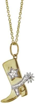 Sydney Evan Cowboy Boot Charm Necklace - Yellow Gold