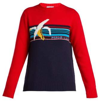 Banana Intarsia Wool Sweater - Womens - Red