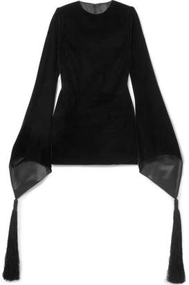 Saint Laurent Tasseled Velvet Mini Dress - Black