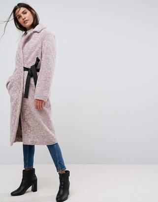 Asos Design Longline Faux Fur Coat with Side Belt Detail