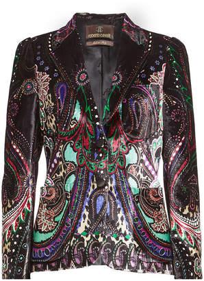 Roberto Cavalli Printed Velvet Blazer with Silk