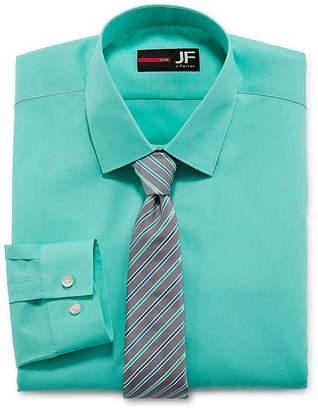 Jf J.Ferrar Slim Fit Dress Shirt And Tie Set Shirt + Tie Set Slim