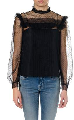 Miu Miu Black Silk See-through Blouse