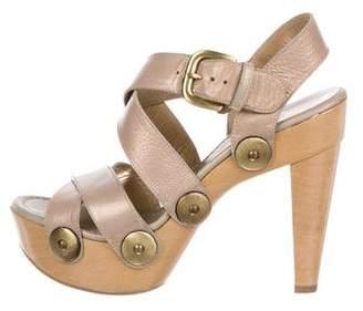 Stuart Weitzman Leather Platform Sandals