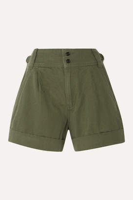Current/Elliott Cotton And Linen-blend Twill Shorts - Army green