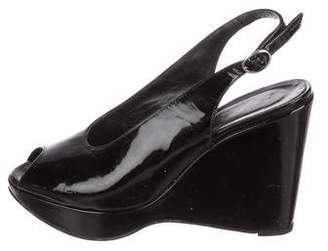 Robert Clergerie Clergerie Paris Patent Leather Slingback Wedges