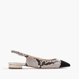 Slingback flats in snakeskin-printed leather $128 thestylecure.com