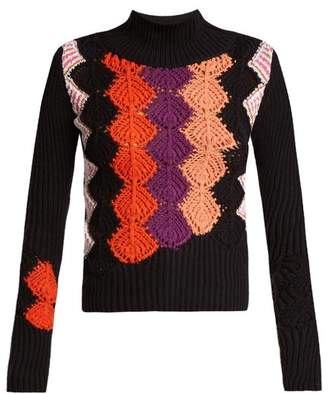 Peter Pilotto Crochet-panel ribbed-knit cotton-blend sweater