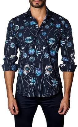 Jared Lang Long Sleeve Floral Trim Fit Woven Shirt