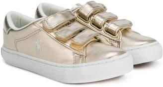 Ralph Lauren Kids metallic strap sneakers