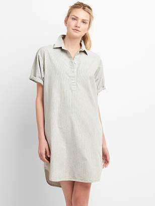 Gap Rolled Sleeve Popover Denim Shirtdress in Pinstripe