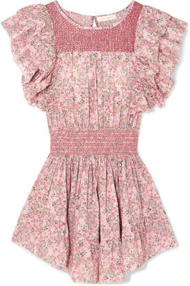 LoveShackFancy Marcella Smocked Floral-print Cotton-voile Mini Dress - Pink