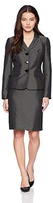 Le Suit Women's Petite Pindot 3 Bttn Notch Lapel Skirt With Cami