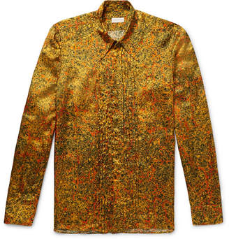 Dries Van Noten Bib-Front Printed Satin-Twill Shirt