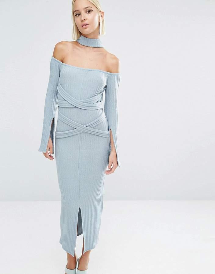 Lavish Alice Rib Knit High Neck Wrap Around Belt Midi Dress