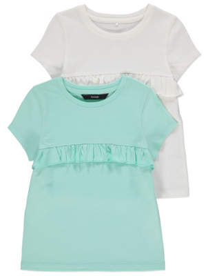 George White and Green Frill T Shirts 2 Pack