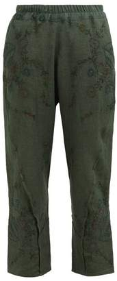 By Walid Reyzi Floral Embroidered Linen Trousers - Womens - Green