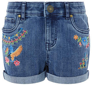 Monsoon Kingfisher Embroidered Denim Shorts