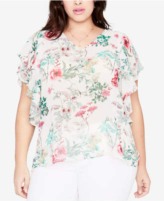 Rachel Roy Trendy Plus Size Floral-Print Flutter Sleeve Top