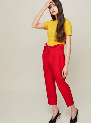 Miss Selfridge Petite red paperbag trousers