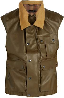 Y/Project Double-layered faux-leather gilet