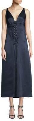 Derek Lam Lace-Up Maxi Slip Dress