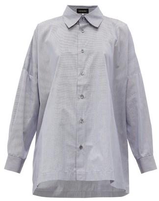 eskandar Oversize Cotton Shirt - Womens - Navy Stripe