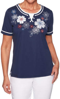Alfred Dunner In The Navy-Womens Round Neck Short Sleeve T-Shirt