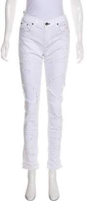 Rag & Bone Distressed Mid-Rise Skinny Jeans w/ Tags