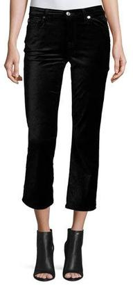 7 For All Mankind Cropped Boot-Cut Velvet Jeans, Black $179 thestylecure.com