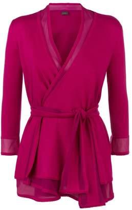 La Perla Knitwear Fuchsia Wool Belted Cardigan With Chiffon Trims