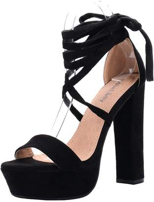 Glamorous Mila Lady (Lynn Women's Platform Ankle Srappy Lace Up Block Chunky Heels