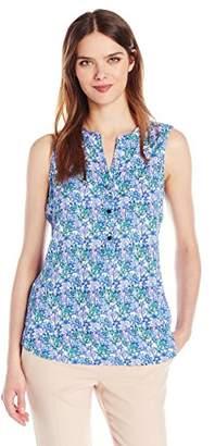 Adrianna Papell Women's Print Sleeveless Equipment Shirt