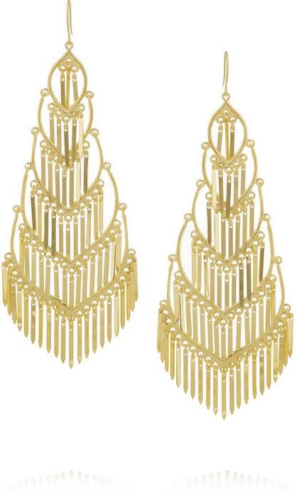 Isharya Fringe gold-plated drop earrings