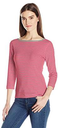 Three Dots Women's Stripe 3/4 SLV British Tee