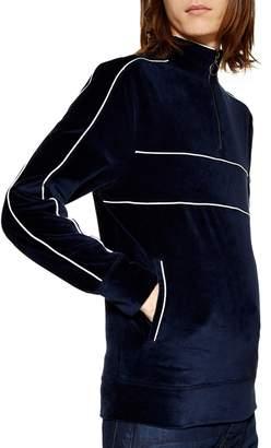 Topman Classic Fit Quarter Zip Velour Pullover