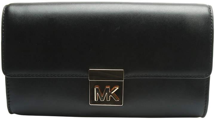 Michael Kors Black Mindy Leather Clutch - BLACK - STYLE