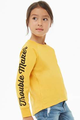 Forever 21 Girls Trouble Maker Graphic Tee (Kids)