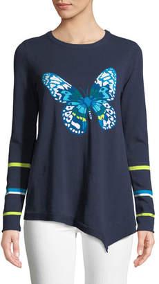 Lisa Todd Butterfly Asymmetric Cotton Sweater, Petite