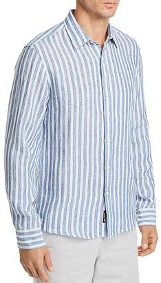 Michael Kors Striped Linen Slim Fit Button-Down Shirt