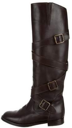 Manolo Blahnik Round-Toe Knee-High Boots