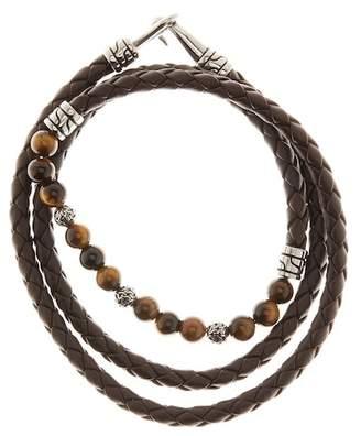 Jean Claude Tiger's Eye Beaded Leather Wrap Bracelet