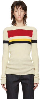 Victoria Beckham Off-White Stripe Long Sleeve Sweater