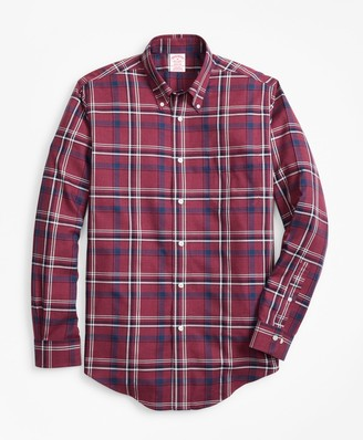 Brooks Brothers Non-Iron Madison Fit Burgundy-Navy Plaid Sport Shirt