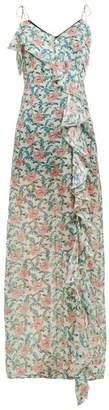 Raquel Diniz Stella Ruffle Floral Print Silk Maxi Dress - Womens - Green Multi
