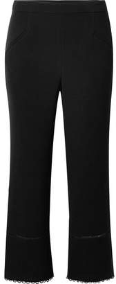 Rachel Zoe Michelle Cropped Lattice-trimmed Stretch-crepe Flared Pants - Black