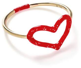 Jordan Askill Red Glitter Enamel Heart Ring - Yellow Gold