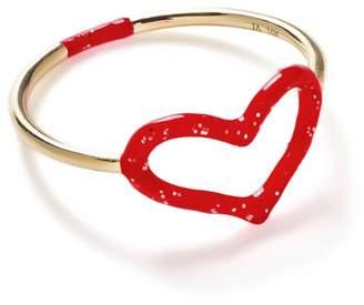 Jordan Askill Red Glitter Enamel Heart Ring - Yellow Gold