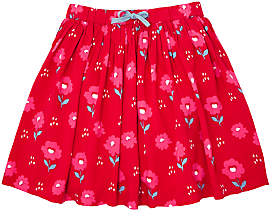 John Lewis & Partners Girls' Floral Print Skirt, Red