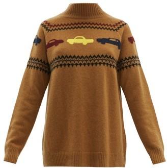 The Elder Statesman The Fairest Isle Car Intarsia Cashmere Sweater - Womens - Beige